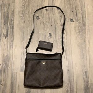 Coach cross body with matching wallet.